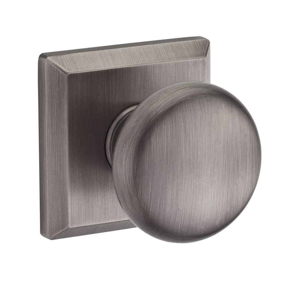 Baldwin PVROUTSR152 Reserve Privacy Round with Traditional Square Rose in Matte Antique Nickel Finish