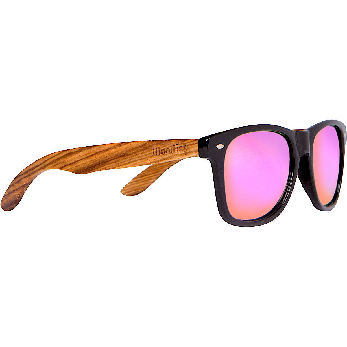 WOODIES Zebra Wood Sunglasses with Pink Mirror Polarized Lenses
