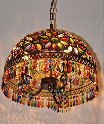 (TUNBG American Retro Southeast Asia Mediterranean Bohemian Living Room Lamp Bedroom Restaurant Bronze Color Crystal Chandelier, 40)