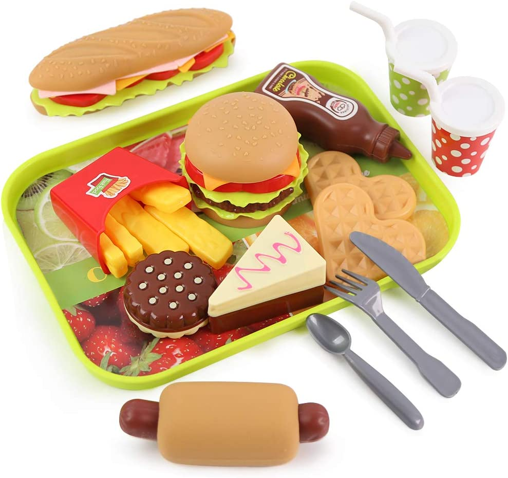 LovesTown Kids Toys Burger, 20 Pcs Kids Play Food Set Toddlers Pretend Toy Food Fake Food Toy Food for Kids Birthday Gift