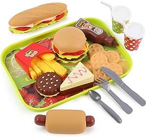 LovesTown Kids Toys Burger, 20 Pcs Kids Play Food Set Toddlers Pretend Toy Food Fake Food Toy Food for Kids Birthday Gift