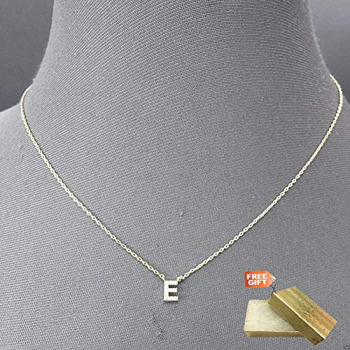 Silver Finish Accent Initial E Cubic Zirconia Rhinestone Pendant Dainty Necklace Set For Women + Gold Cotton Filled Gift Box for Free ()