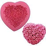 OBTANIM Silicone 3D Rose Flower Love Heart Shape Mold DIY Fondant Sugar Pudding Soap Candle Mould for Wedding Valentine Cake