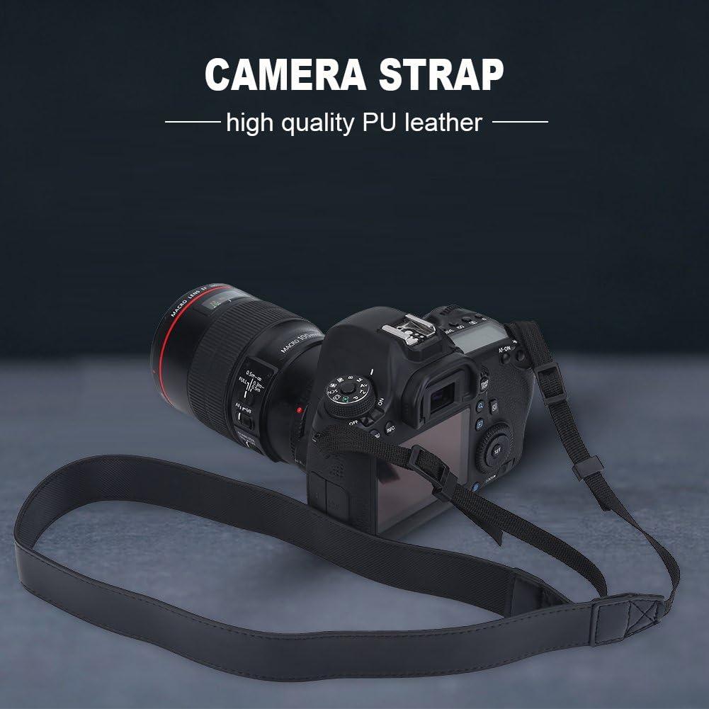 Black Camera Belt,Camera Neck Strap Adjustable Universal PU Leather Camera Shoulder Neck Strap Belt Photography Accessory