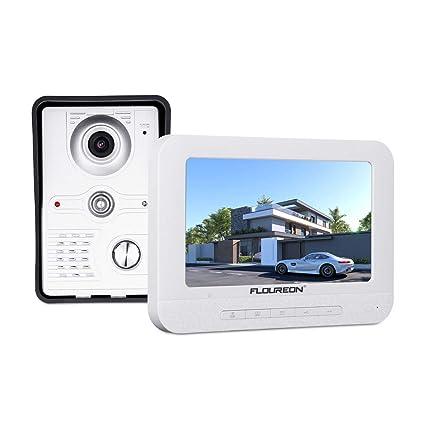 FLOUREON Videoportero Timbre Interphone Security Intercom System con 7 pulgadas Color TFT LCD Monitor y IR