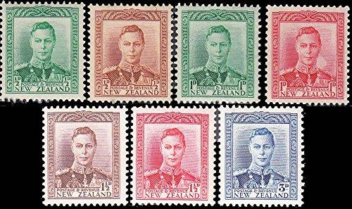 New Zealand Scott 226-228C 1/2d Emerald, 1/2d Brown Orange, 1d Rose Red, 1d Light Blue Green, 1 1/2d Violet Brown, 1 1/2d Red and 3d KGVI. Mint never hinged.