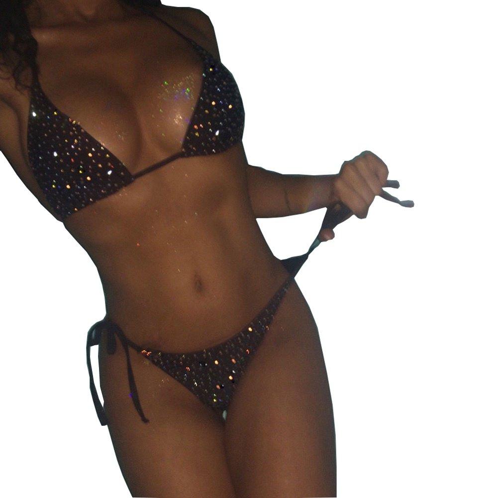 Women Sparkle Glitter Push-up Bra Bandage Bikini Set Swimsuit Triangle Swimwear Bathing Suit (Black)