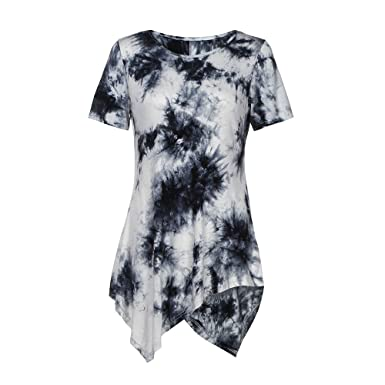 bb4be3d33a8 Women's Short Sleeve Blouses Tops Lady Print Irregular Summer O-Neck T- Shirts Casual Loose Sexy Plus Size Sport Party Club Teen Girl Tops Tank Tunic  Shirts ...