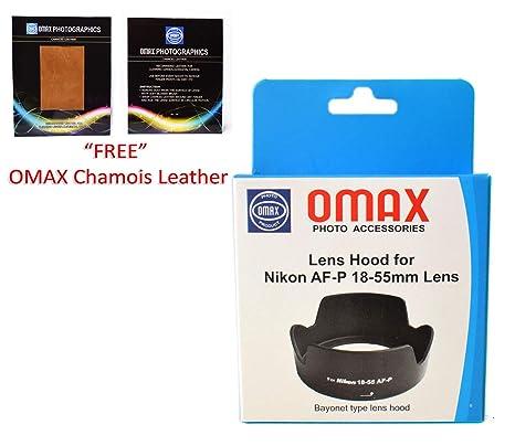 Omax lens hood for nikon d3300/d5300 af p 18 55mm vr lens  bayonet type lens hood  Lens Hoods