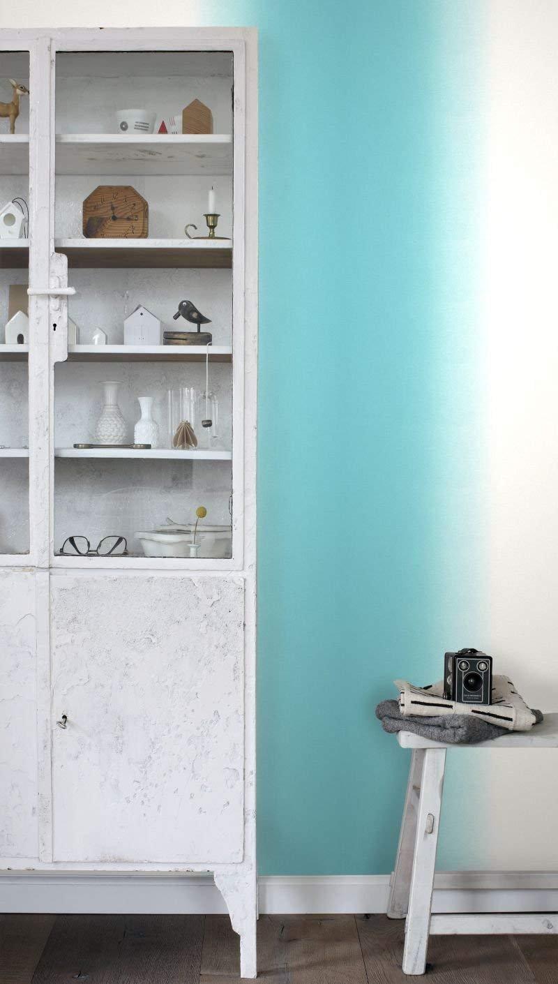 Esta Home (148607) Beige to Teal Ombre Fade Dip Dye Watercolor on Canvas Look - Non Woven