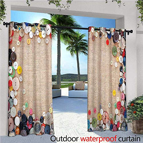 cobeDecor Vintage Balcony Curtains Buttons Collection Fabric Texture Canvas Frame Sewing Needlecraft Contemporary Picture Outdoor Patio Curtains Waterproof with Grommets W84 x L84 Light Brown ()