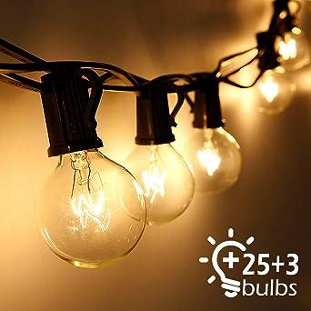 Cadena de Luces, Qomolo G40 Exterior Guirnalda Luces Con 25 Bombillas Y 3 Bombillas de Repuesto, 30ft Cable, Decoración Luz Interior y Exterior para Patio, Jardín, Fiesta, Bodas, Navidad: Amazon.es: Iluminación