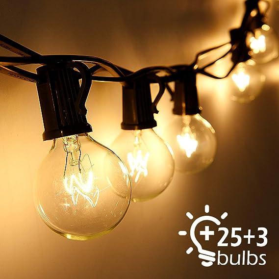 Lichterkette Außen Qomolo Lichterkette Balkon Glühbirnen G40 28er Birnen Garten Beleuchtung für Innen und Draußen mit Ersatzb