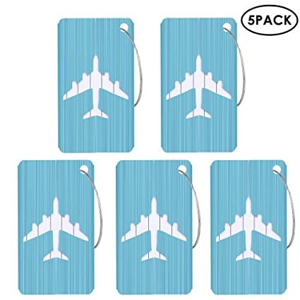 Aolvo Etiqueta de aluminio para equipaje, 5 unidades de metal duro maleta bolsa identificador ID etiquetas ...