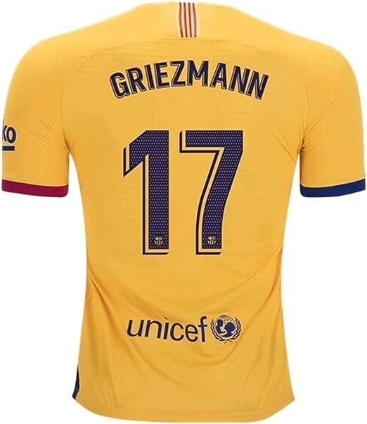 Xin balery Jersey 2019-2020 Barcelona Griezmann 17# Jersey para Hombre, Color Amarillo