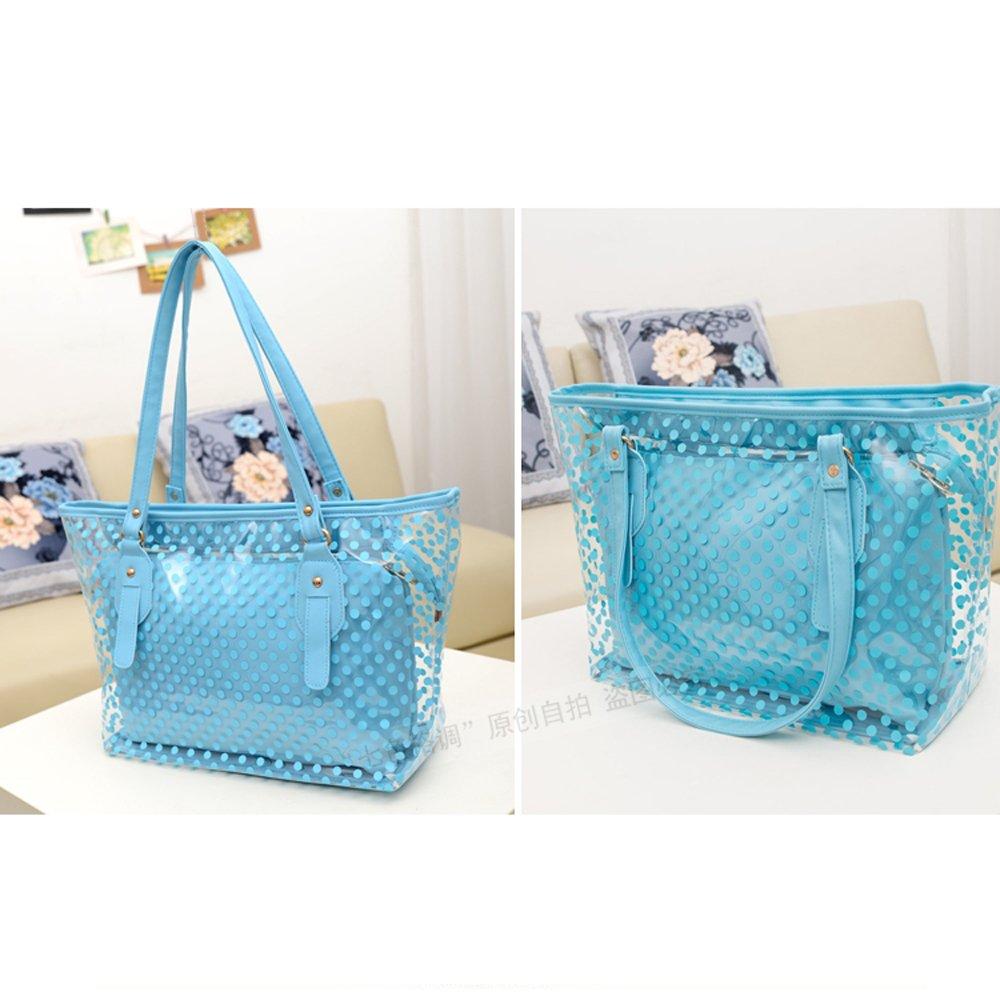 60218fddfe Neuf Mode Sac à bandoulière 2en1 Sac à main Femme Transparent sac de plage ( Bleu)
