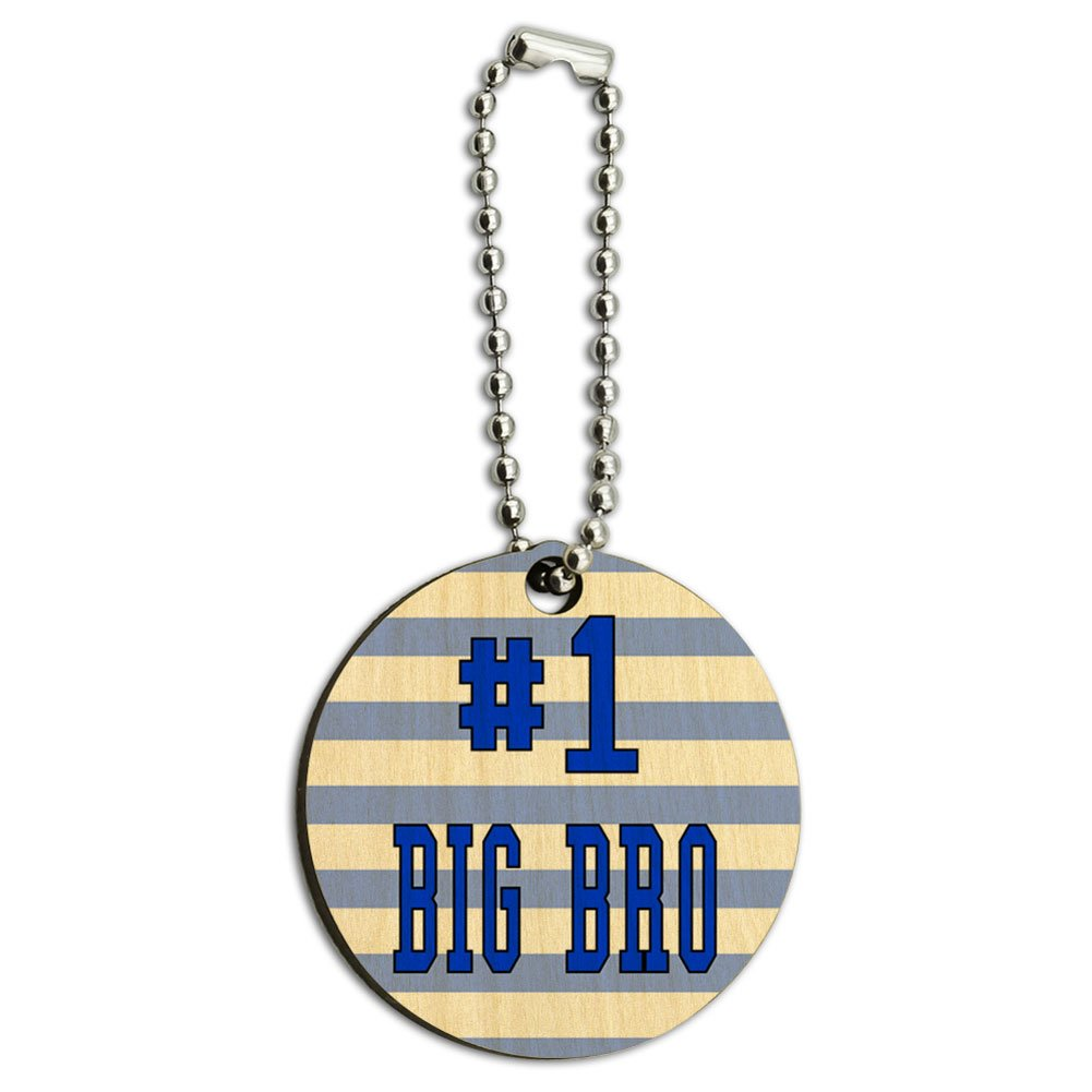 #1 Big Bro Brother Number One Favorite Wood Wooden Round Key Chain