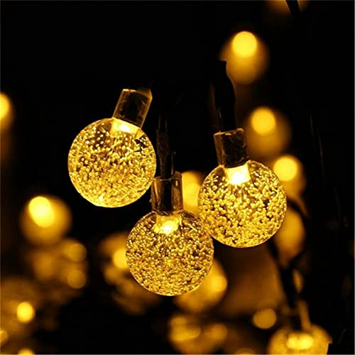 NERLMIAY Solar Energy Powered 20ft 30 LED Crystal Ball Bubble String Fairy Light for Indoor Outdoor Decoration Warm White