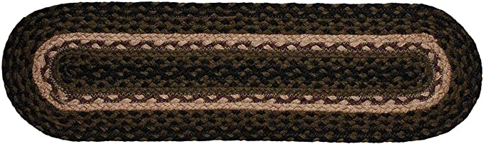 IHF Home Decor Pinecone Jute Braided Stair Tread Oval Rug 8 x 28 Inch