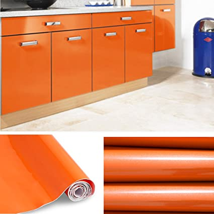 Mobili Da Cucina Arancione.Kinlo Adesivi Carta Per Mobili 0 6m 5m 5 Rotoli Arancione Nessuna Colla Pvc Impermeabile Adesivi Mobili Rinnovato Mobili Da Cucina Autoadesivo Wall
