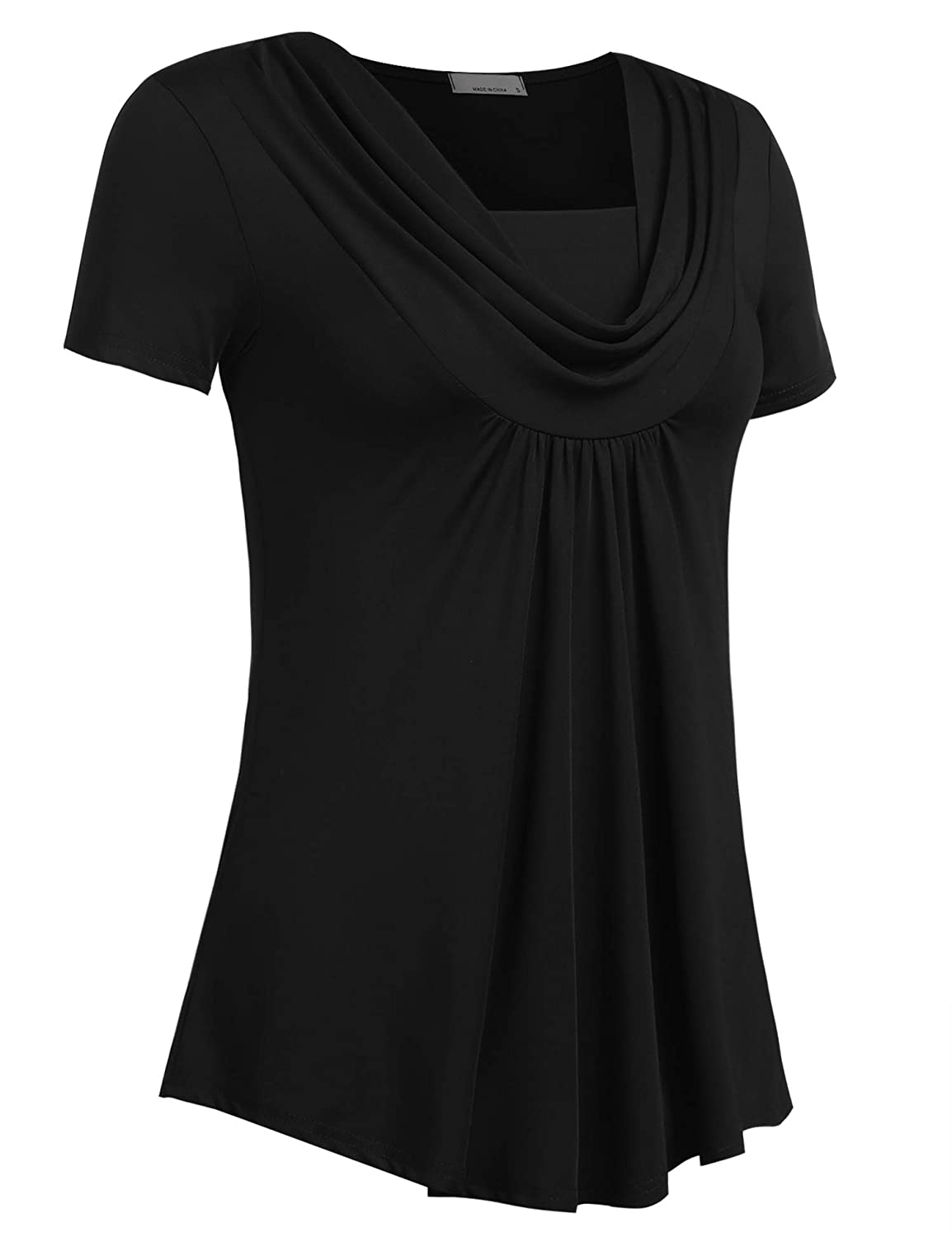 4f4db1f8801 Mofavor Women's Cowl Neck Tunics Short Sleeve Swing Blouse Top Flowy Shirt  at Amazon Women's Clothing store: