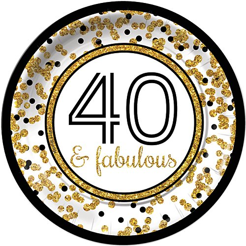 (Cheers to You Gold 40 & Fabulous 40th Birthday Dinner Plates (8) Party Tableware Supplies)