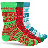 3 Pack Ugly Sweater Men's Christmas Dress Colorful Socks for Men Featuring Multiple Holiday Colors