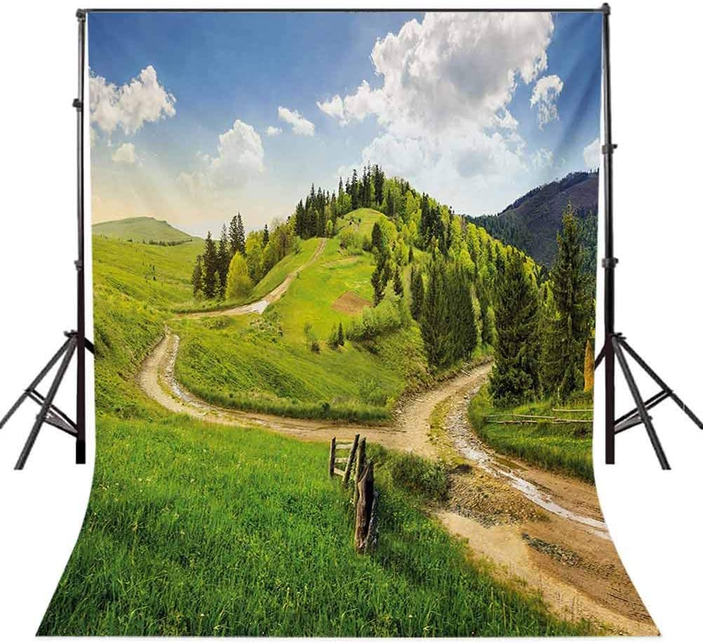 10x12 FT Photo Backdrops,Hillside Meadow Cloudy Sky Fence Near The Cross Road with Fir Trees on Both Sides Background for Baby Shower Birthday Wedding Bridal Shower Party Decoration Photo Studio