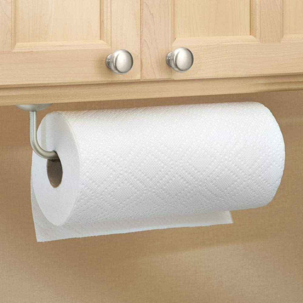 Holds Jumbo Rolls for Kitchen Utility Room Pantry Mounts to Walls or Under Cabinets Laundry and Garage Storage Bronze mDesign Metal Wall Mount Paper Towel Holder /& Dispenser