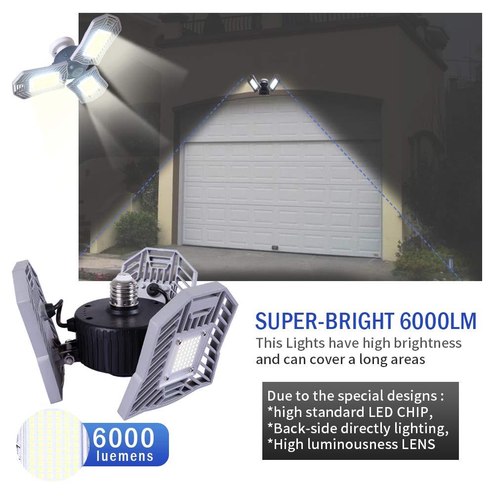 Garage Lighting,E26 Led Bulb 6000LM,Led Garage Ceiling Lights,led Garage Lights,Garage Light Bulb,led Bulb for Garage,led Shop Light,Workshop Light (Daylight, 60w''Standard'') (60w''Standard'' Daylight) by LifeLux (Image #3)