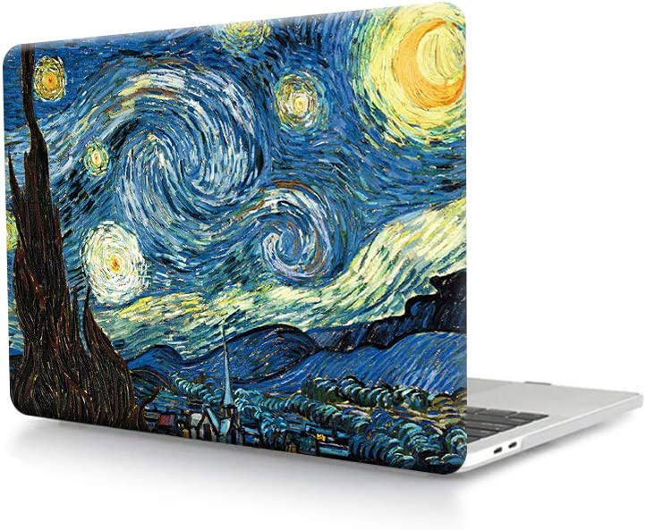 HRH Starry Night Design Laptop Body Shell PC Plastic Hard Case Cover for MacBook Pro 16 Inch with Touch Bar and Touch ID Case A2141 2019 Release