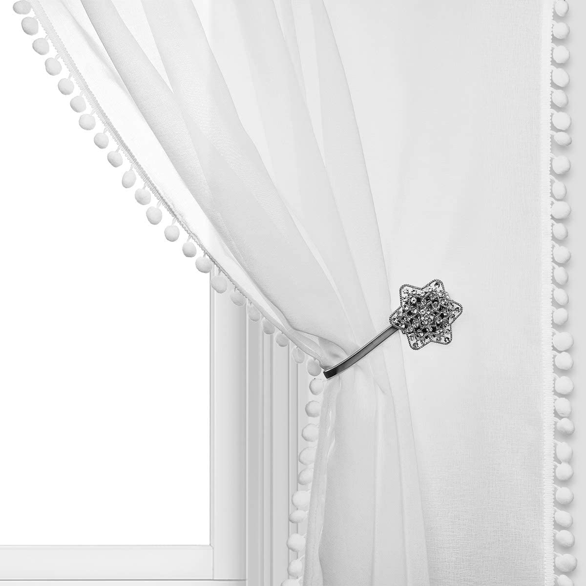 NINETREX Sheer Curtains with Pom pom Linen Look for Bedroom and Living Room Pocket Voile Semi-Sheer Curtains Set of 2 Curtain Panels (54 X 84, White)