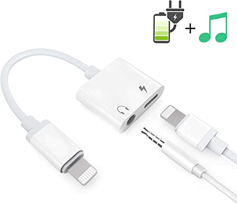 Audio+Charge+Call+Volume Control Headphone Adapter for iPhone X Adapter AUX Audio Jack Adapter Car Charger Earphone Cable Converter Compatible for iPhone X//XS//XR//7//7P//8//8Plus Support All iOS System