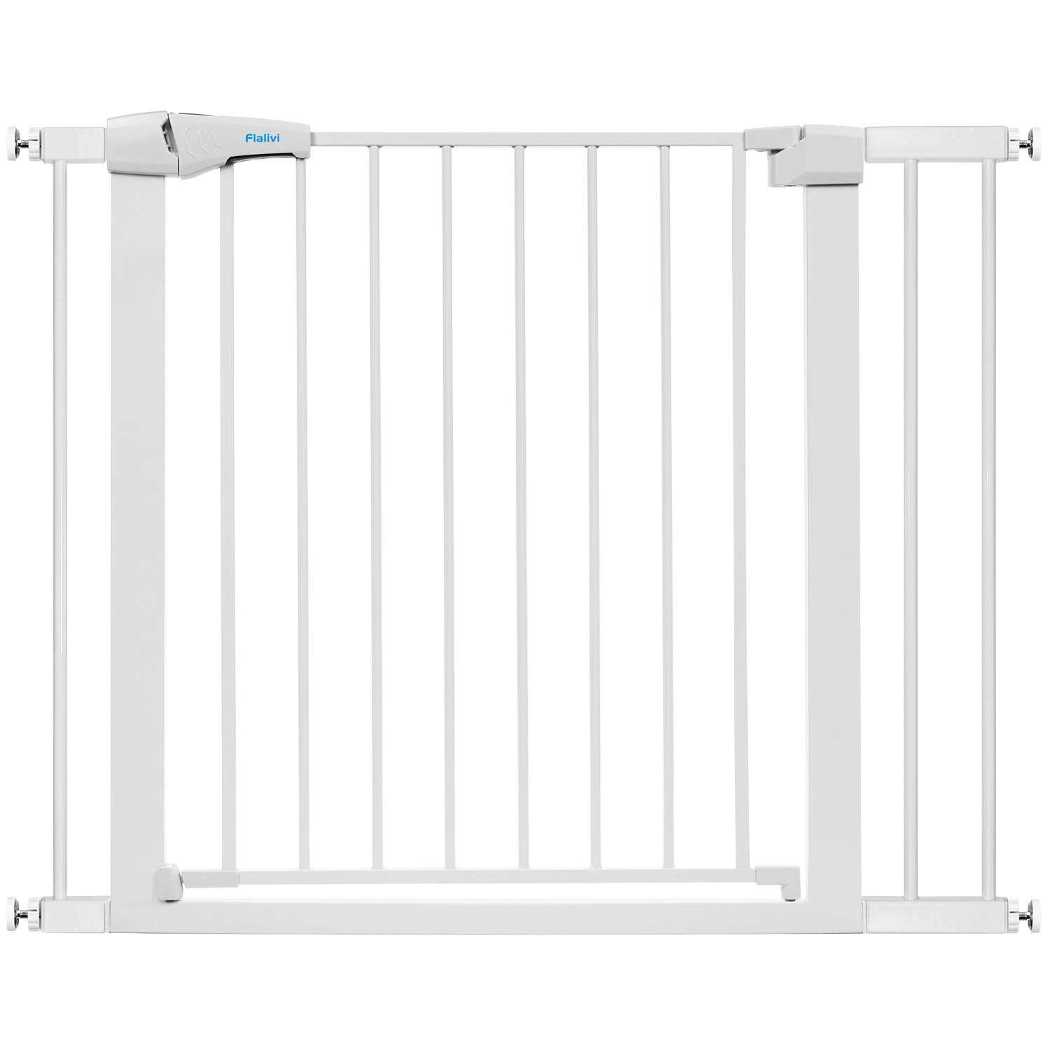 Flalivi 29.5-40.6 Inch Auto Close Safety Baby Gate, Extra Wide Child Gate, Easy Walk Thru Durability Pressure Mount Baby Gate for Doorways, Stairs, House. Include 4 Wall Cups, 2.75 and 5.5 Extension