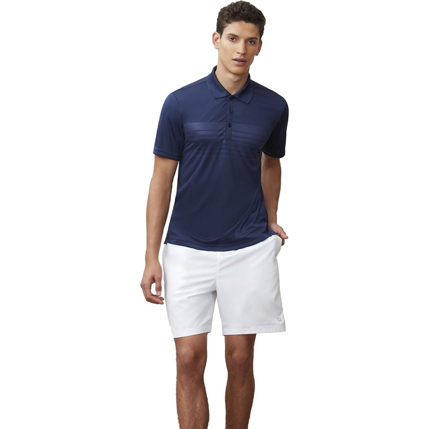 Fila Men's Core Embossed Chest Striped Polo Shirt, Navy, M