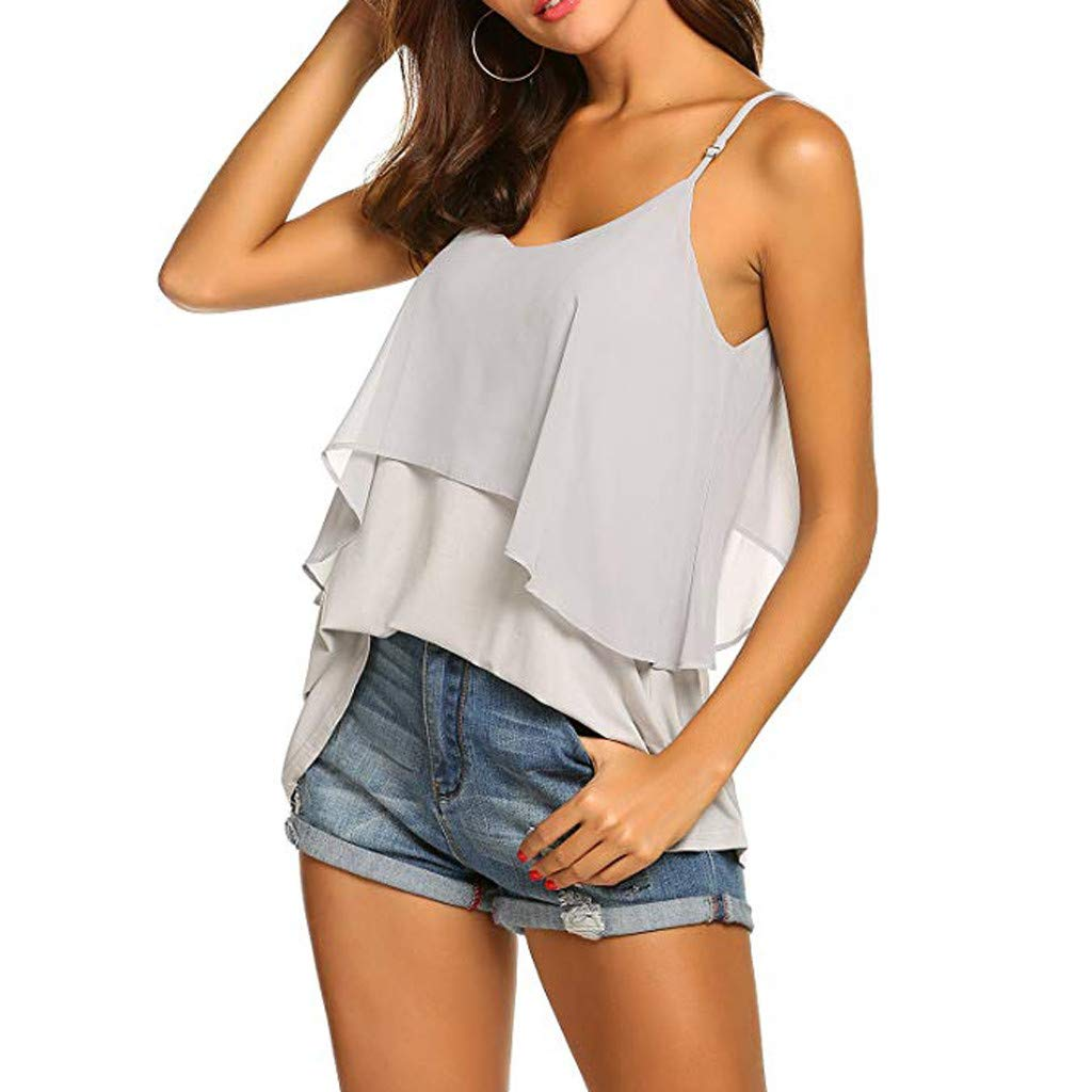 Kalinyer Women's Summer Chiffon Layered Cami Tank Tops Loose Fit Casual Blouses Sleeveless Spaghetti Strap Vest T Shirt Gray
