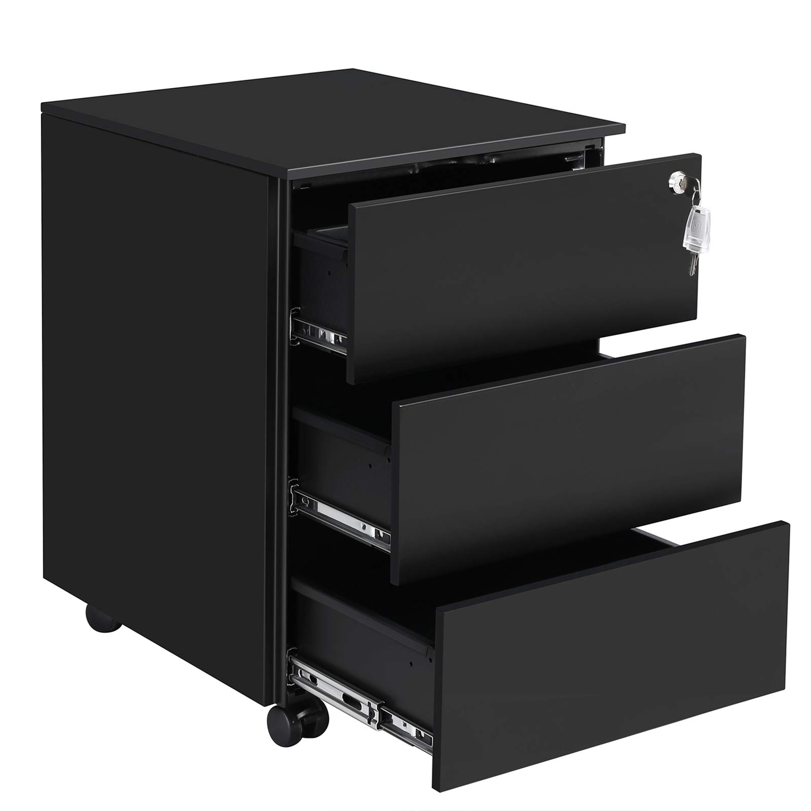 SONGMICS Mobile File Cabinet, Lockable, Pre-Assembled, with 3 Drawers, Hold Documents, Stationery, 15.4 x 17.7 x 21.7 Inches, Matte Black UOFC63BK