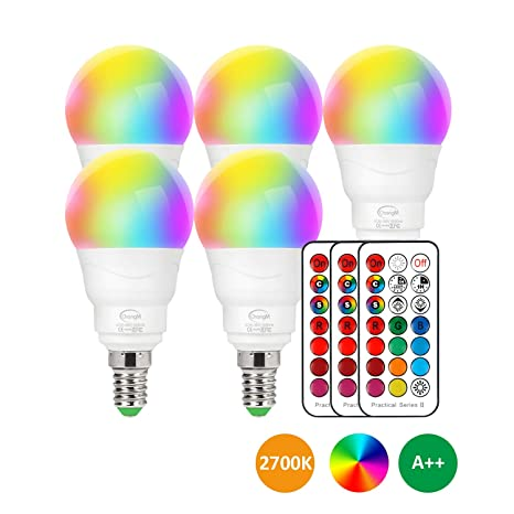Led Lampe E14 Rgbw 5er Set Led Farbwechsel Birne 5 Watt Ersetzt 40w Dimmbar Farben Led Gluhbirne Farbwechsel Gluhbirne Mit Fernbedienung Rgb