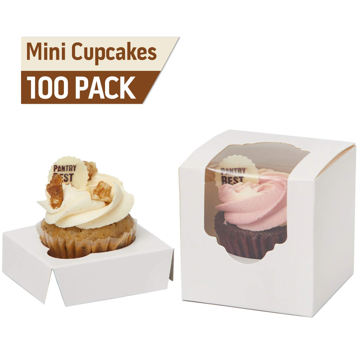 Yotruth Wedding Favor Boxes Mini Cupcake Boxes Single White Extra Sturdy with Insert 100 Pack by yotruth