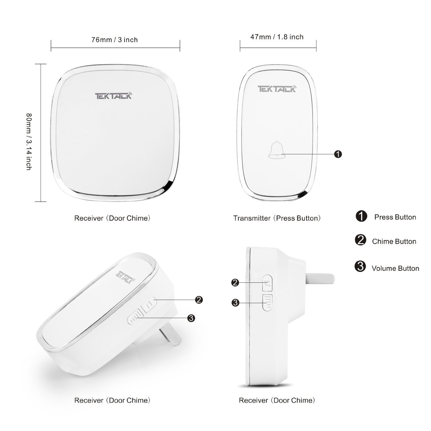 Tektalk Wireless Metallic Edge Decored Door Bell Chime And Push Lowvoltage Screws Of Your Existing Doorbell Click Here For A Diagram Button With 36 Chimes Volume Levels White 1 Remote 2 Plug In Receivers