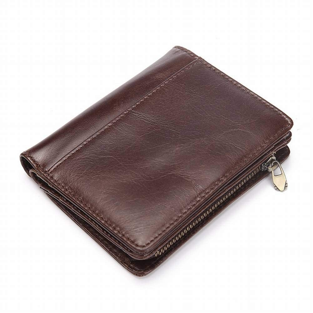 Creative Multifunctional Mens Short Wallet Vintage Oil Wax Wallet Head Layer Leather Coin Purse for Men