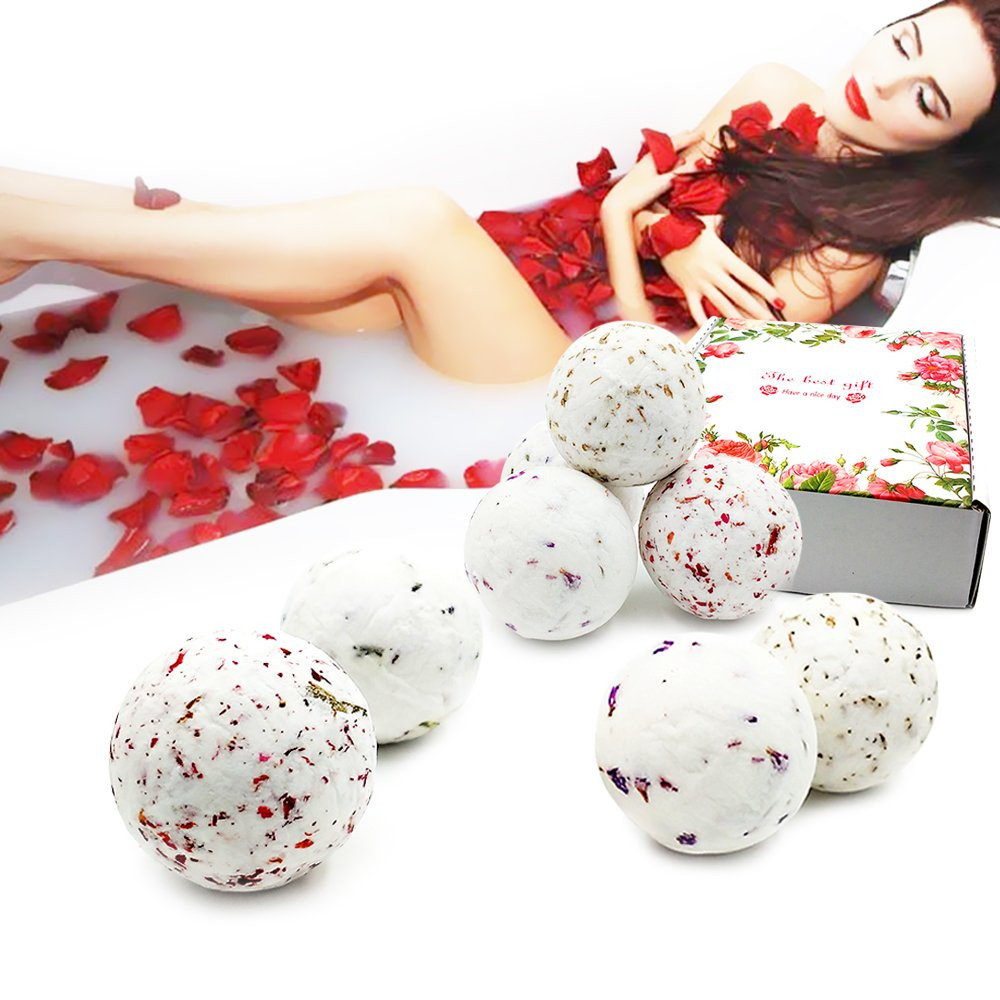Bombes de Bain-Fizzies de bombe spa à la main biologique, 8 x 1,4 oz séchées fleurs végétaliennes huiles essentielles naturelles - relaxant, hydratant, cadeau d'amusement pour les femmes, maman, filles Anhao
