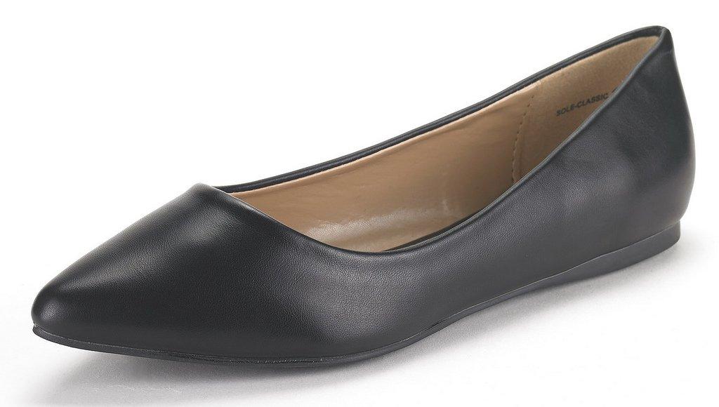 DREAM PAIRS Sole Classic Fancy Women's Casual Pointed Toe Ballet Comfort Soft Slip On Flats Shoes B01KMP3HCU 9 B(M) US Black Pu