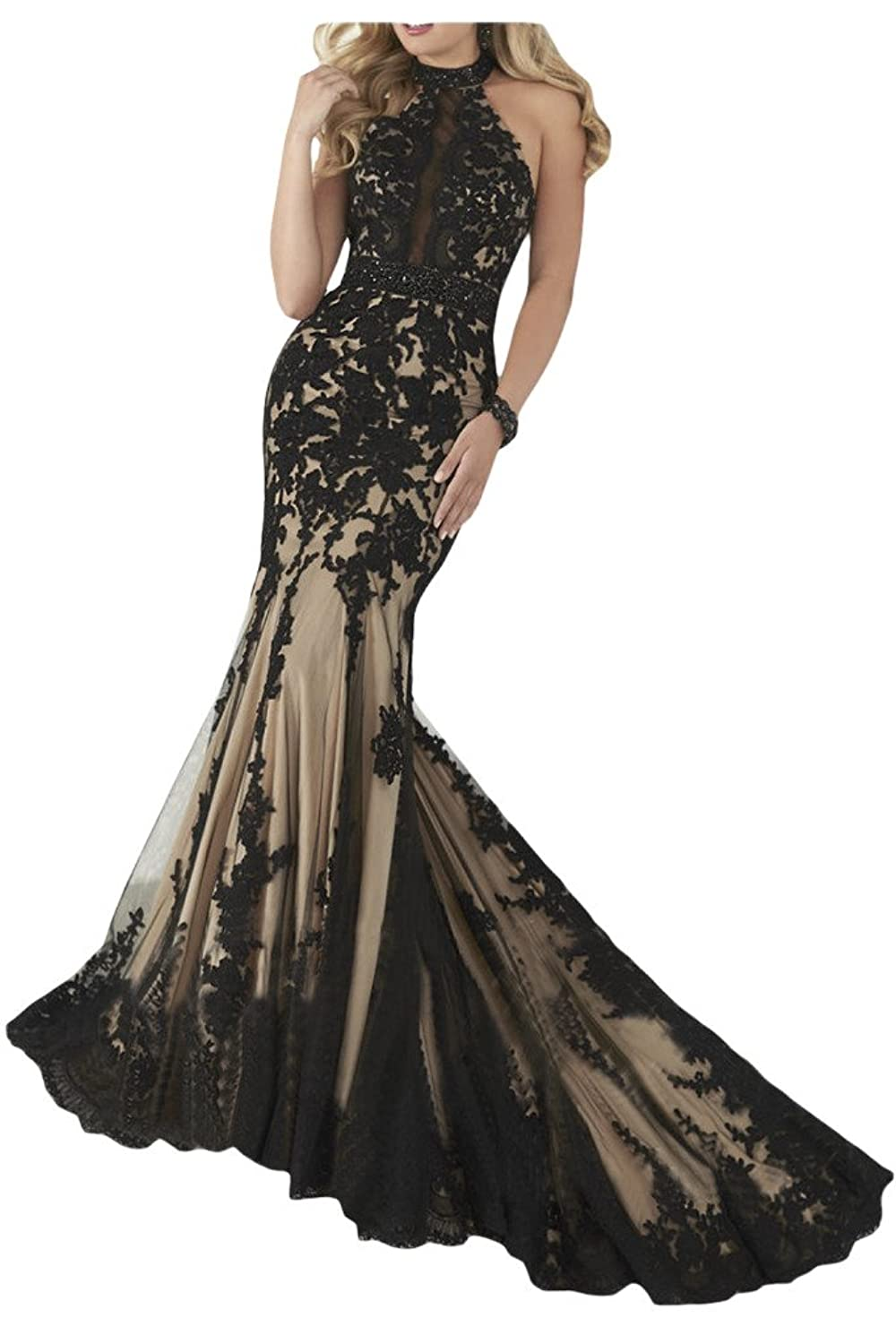 Sunvary Vintage Lace Mermaid Halter Backless Long Party Gowns Evening Gowns