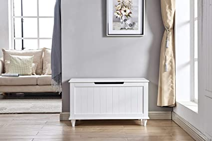 Super Amazon Com Wood Storage Bench With Flip Top White Pdpeps Interior Chair Design Pdpepsorg