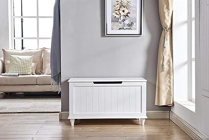 Astonishing Amazon Com Wood Storage Bench With Flip Top White Short Links Chair Design For Home Short Linksinfo