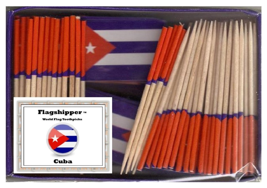 25 Box Wholesale Lot of Mini Cuba Toothpick Flags, 2500 Small Mini Cuban Flag Cupcake Toothpicks or Cocktail Picks by World Flags Direct