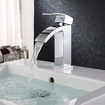Homfa Wasserhahn Bad Armatur Wasserfall Mischbatterie Badarmatur  Einhebelmischer Waschbecken Waschtischbatterie für Badezimmer Waschtisch