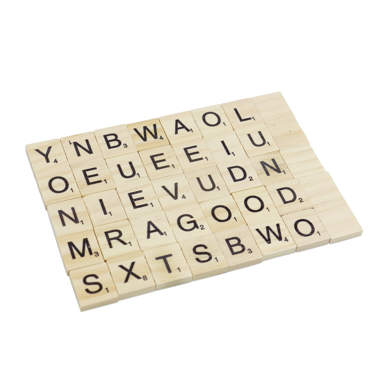 Rocita 100 Wooden Scrabble Tiles DIY Letter Tiles for Pre-school Kids Education Crossword Puzzle