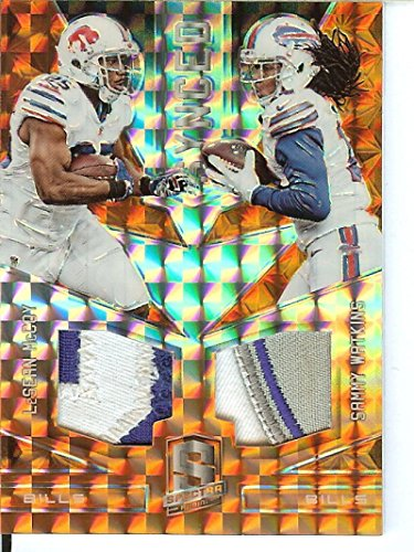 Football NFL 2016 Spectra Synced Swatches Neon Orange #3 LeSean McCoy/Sammy Watkins MEM 1/3 Bills by Panini Spectra
